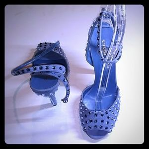 """GUCCI """"YULIA"""" PERIWINKLE CRYSTAL SUEDE SANDALS"""